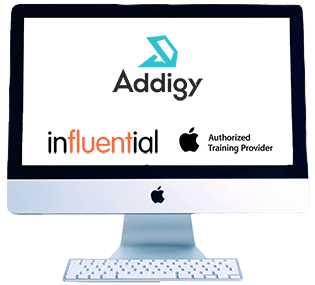 Monitor with logos about Addigy Partner Influential Software