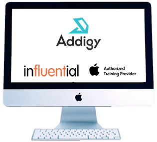 Monitor with Addigy training logos